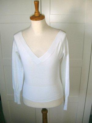 Langarmshirt mit V-Ausschnitt, weiß, Benetton, Gr. S