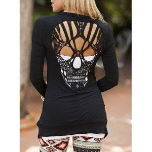 Langarmshirt Rückenfrei Skull Neu schwarz Gr M