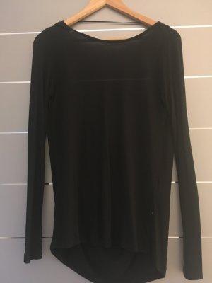 Langarmshirt schwarz - tiefer Rückenausschnitt Gr. XS
