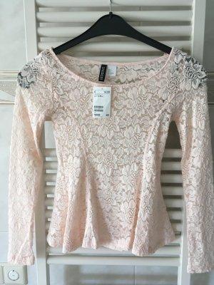 Langarmshirt Spitze rosa