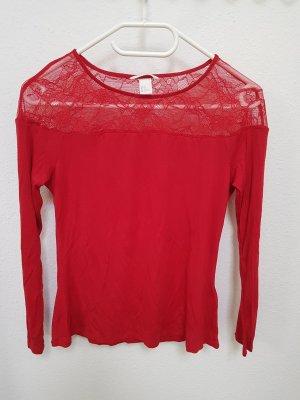 Langarmshirt Spitze rot