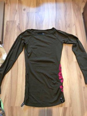Langarmshirt von Bench pink olivgrün Größe XS S 34 36 Oberteil T-Shirt