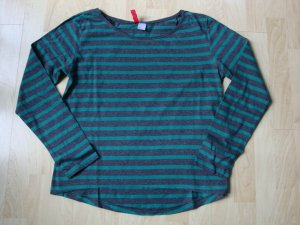 Langarmshirt von Divided by H&M, Gr. 36, grau- grün- gestreift