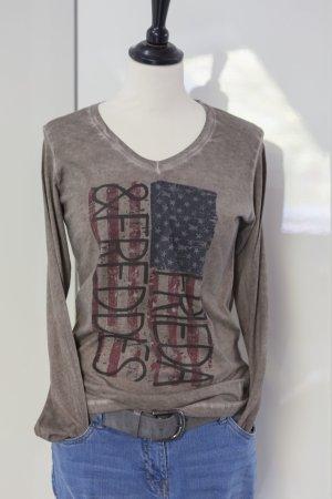 Frieda & Freddies New York V-Neck Shirt light brown-grey brown cotton