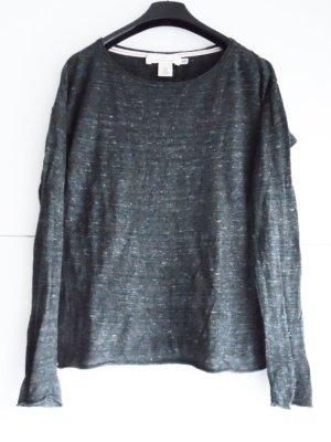 H&M Lang shirt antraciet Katoen