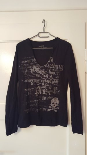 Mogul Camiseta estampada negro-color plata Algodón