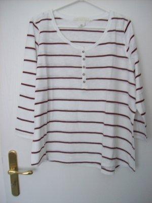 Langarmshirt weiß mit bordeauxroten Streifen von H&M