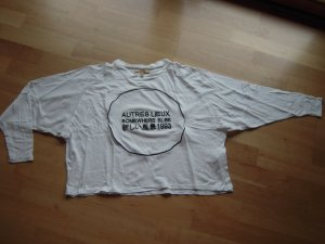 Langarmshirt weiss Stickerei schwarz