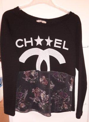 Please Sweatshirt zwart-lichtgrijs Katoen