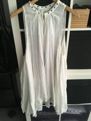 Lange Baumwoll-Bluse/Kleid weiß mit Nieten Gr. S