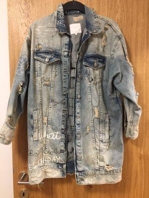 Lange bedruckte Jeans Jacke