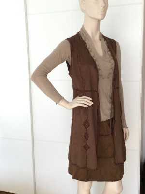 Zara Leather Vest brown polyester