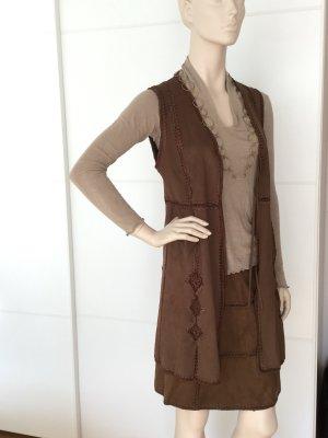 Zara Gilet en cuir brun-brun foncé