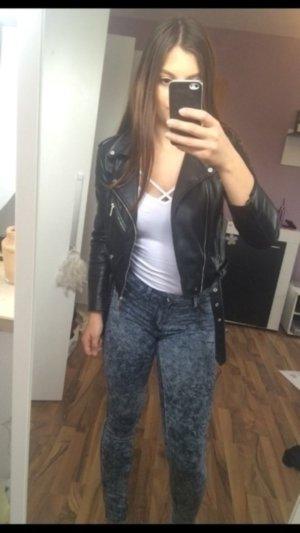 Lange blaue Jeans Hose