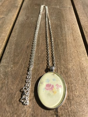 lange Blume Blumen silber Kette Halskette Medaillon Empire Vintage Style Nostalgie wunderschöne Silber Kette lang  Modeschmuck  Vintage Style