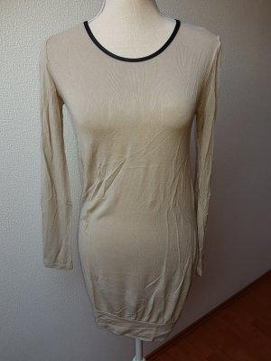 Lange Bluse beige/schwarz; S/36