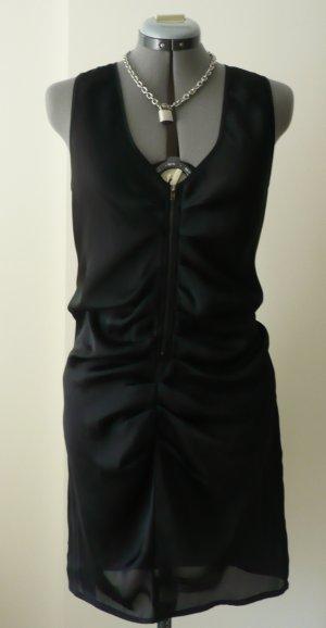 Lange Bluse/ Kleid mit Raffung und Reißverschluss, schwarz, Gr. M/ 40, leicht transparent