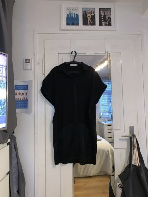 Lange Bluse mit Materialmix