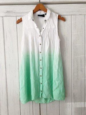 lange Bluse von Minkpink Gr. S weiß mint Ombre Farbverlauf