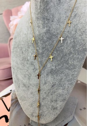 Lange Damen Kette Kreuz Emblem Glitzer Nickelfrei Blogger Halskette