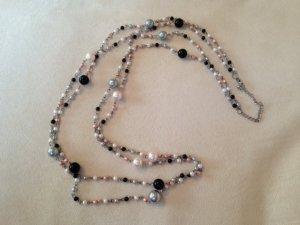 Lange doppelreihige Perlenkette in schwarz / rosa / creme / grau von six