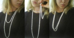 Lange (faux) Perlenkette 75cm
