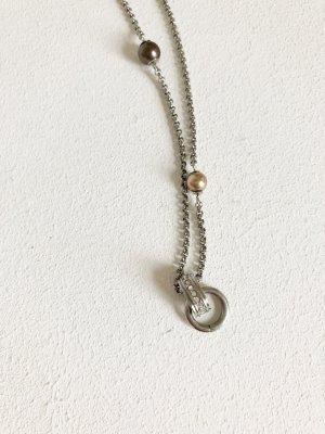 Lange Fossil Kette mit Perlen und Strass. Zum Anhängen von Charms. NEU