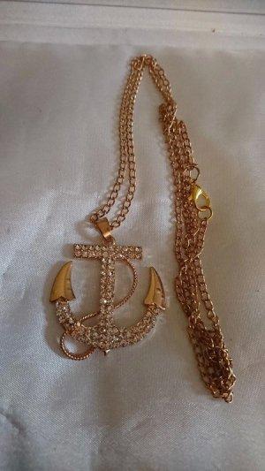 Lange goldene Halskette 70 cm mit Anker Anhänger Strasssteine