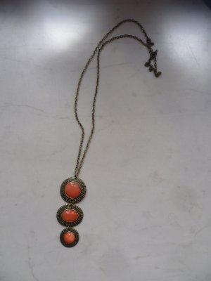 Lange goldene Kette mit orangem Anhänger, Vintage, Blogger, Boho, Ethno