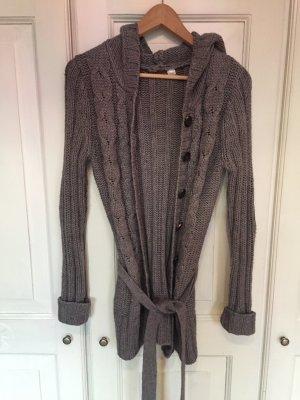 Lange, graue Kapuzen Strickjacke von Zara Knitwear