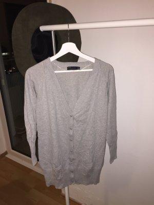 Lange graue Stickjacke von Zara Größe L