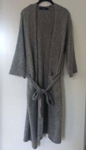 Zara Knit Abrigo de punto gris claro-gris