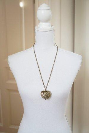 Lange Halskette mit Herz Anhänger Metall gold Antikgold