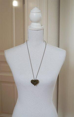 Lange Halskette mit Herz Anhänger Metall gold Antikgold Geschenk Weihnachten