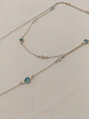 Lange Halskette mit kristallen, vergoldet