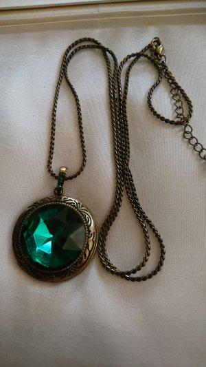 Lange Halskette mit Medaillon Bronze mit grünen Stein