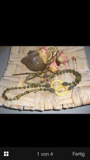 Lange Halskette Pulloverkette mit Verdit Edelsteinen und Gold