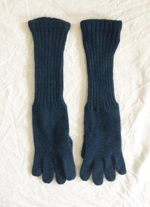 Lange  Handschuhe in dunklem Türkis-Ton aus Wolle und Angora