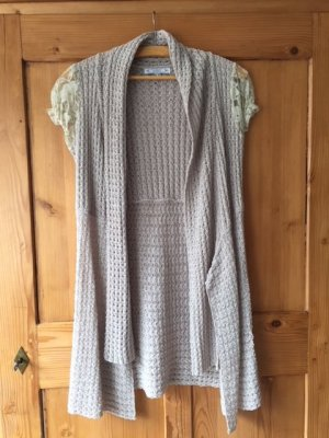 Long Knitted Vest sand brown-natural white