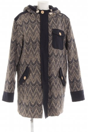 Lange Jacke dunkelblau-hellgelb Zackenmuster Casual-Look