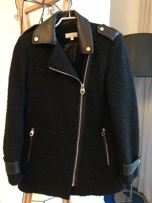 Lange Jacke / Mantel von Calvin Klein, mit Leder, GR XS/S