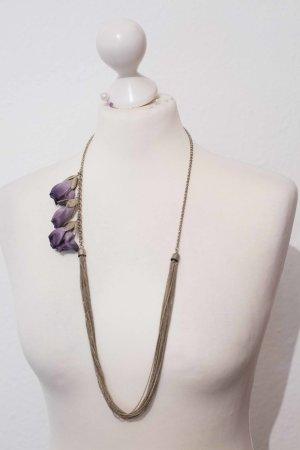 Lange Kette mit violetten Blumen NEU