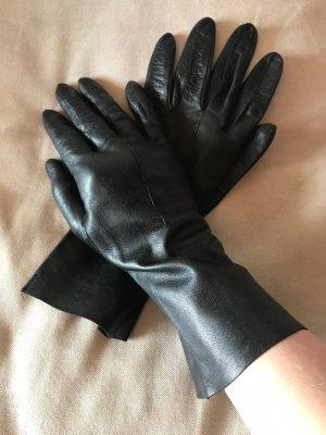 Lange Lederhandschuhe aus Lammleder Butterweich Schwarz Vintage
