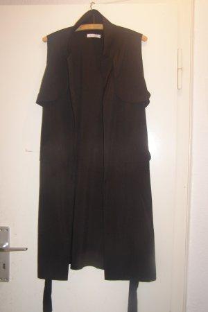 lange leichte Weste Kittel schwarz M