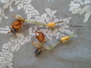 Lange Ohrringe Ohrhänger mit braunen Perlen