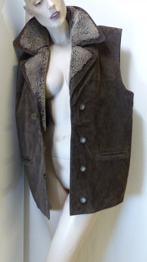 Leather Vest brown-camel leather