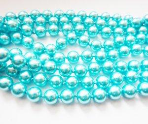 lange Perlenkette türkis modischer Schmuck