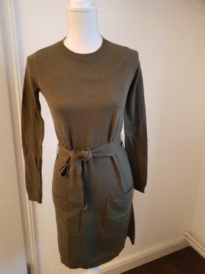 lange Pullover Kleid dünne Strick schwarz khaki