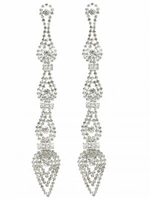 Statement Earrings silver-colored-white glas