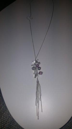Lange Silberkette mit Schmuckperlen